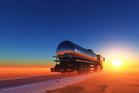 Vrachtwagen aangedreven door brandstof op de weg.