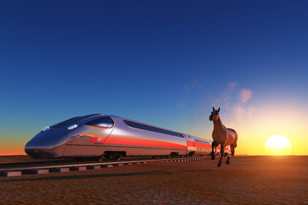 freight train: Modern train and horse moving in the desert.