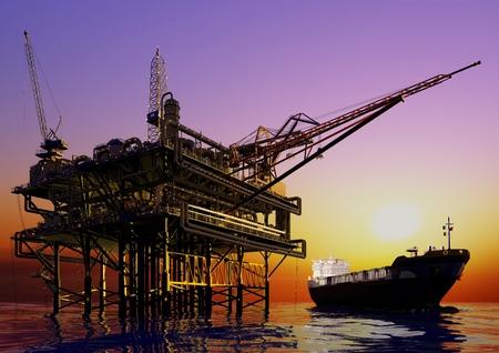 Station olie en tanker op zee.