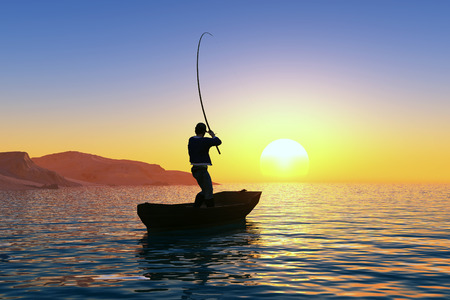 fishing lake: Silhouette of the man in a boat  Stock Photo
