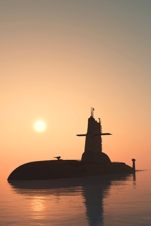 nuclear weapons: Submarine against the evening sky.
