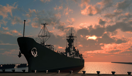 nuclear weapons: Warship in the harbor at sunset.