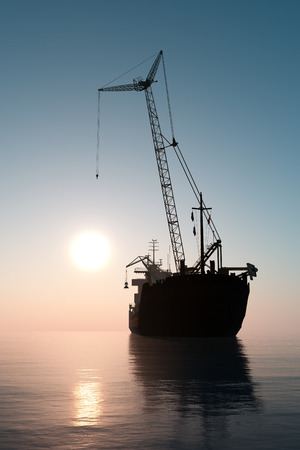tanker: A ship with a crane  in the sea.