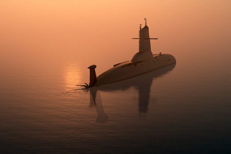 nuclear weapons: Submarine at sea at sunset.