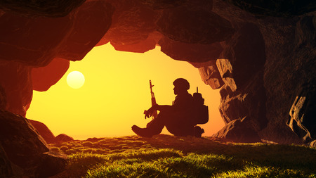 soldier silhouette: Silhouette of a soldier in a cave.