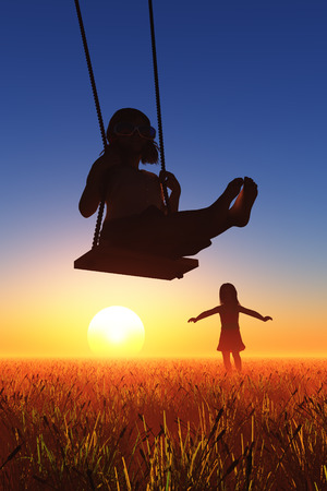 Girl riding on a swing. photo