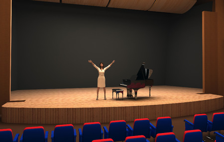 Girl singing on stage of empty hall. photo