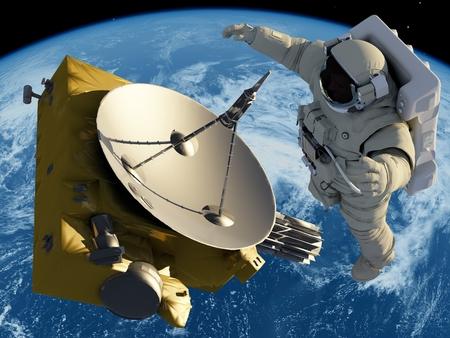 sonne mond und sterne: Astronaut und Antenne im Raum.
