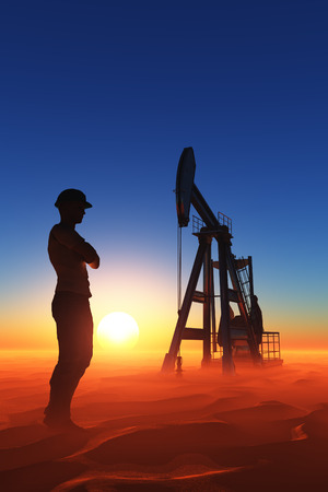 Silhouette of a worker in the desert.