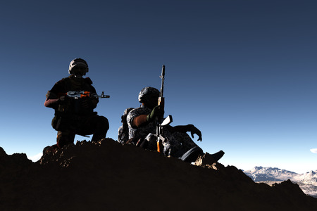 Silhouettes of soldiers against the sky. photo