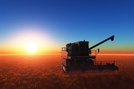cosechadora: Máquinas de acopio en un cielo azul