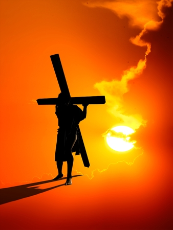 carries: Jesus carries the cross on a red background.