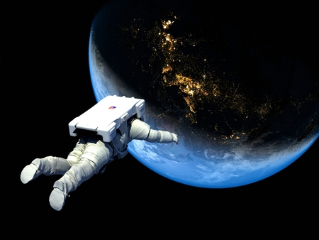 The astronaut on a background of a planet  Stock Photo