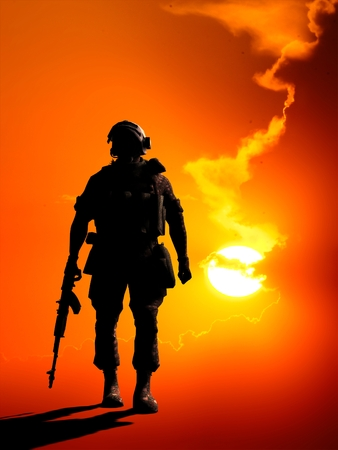military man: Silhouette of a soldier on a red background.