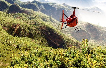 airborne: Civilian helicopter on a background an  landscape