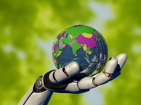 Model of the globe in a robot arm.