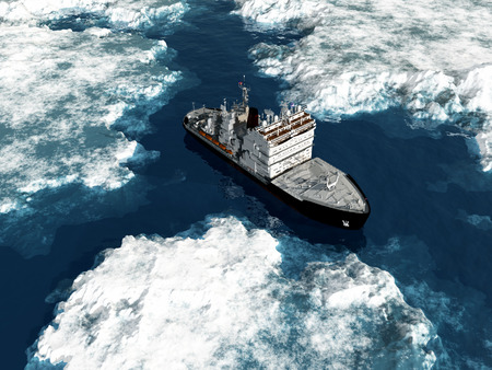 Icebreaker schip op het ijs in de zee.