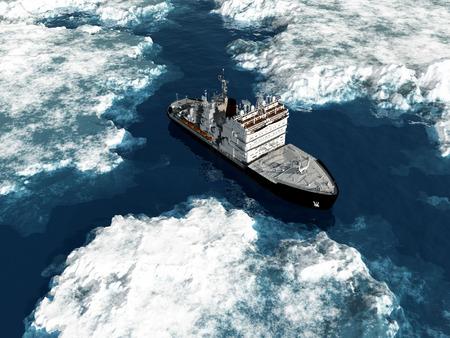 snow break: Icebreaker ship on the ice in the sea.