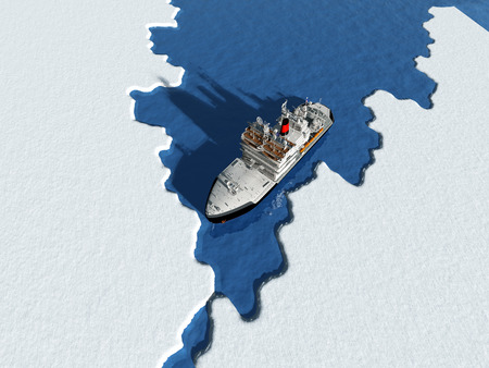 Icebreaker ship on the ice in the sea. Imagens - 32258559