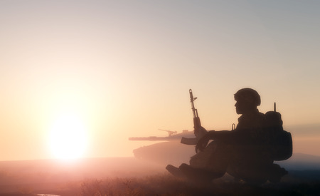 Silhouette of a soldier against the sun. 版權商用圖片 - 32266582