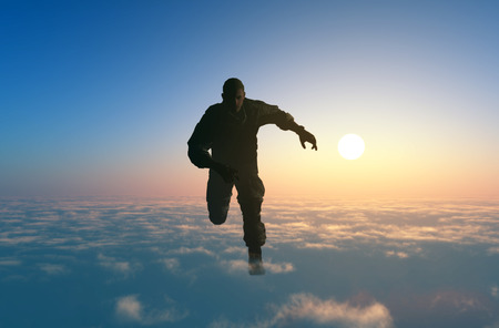 military men: Man running on clouds