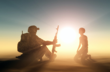 The soldier and the boy in the sun. photo