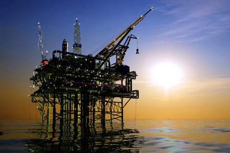 Oil production in the night sea. photo