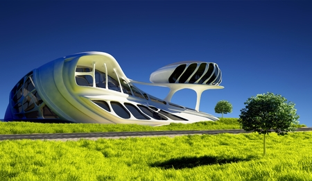 Modern building on the grass.