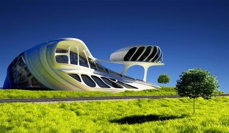 Un bâtiment moderne sur l'herbe. Banque d'images - 32770985