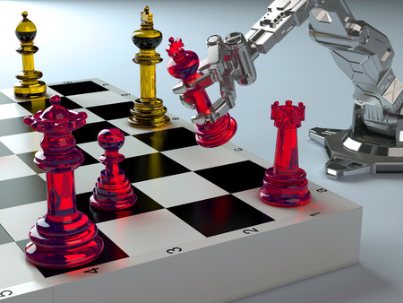 Robot playing chess on a blue background. Stock Photo