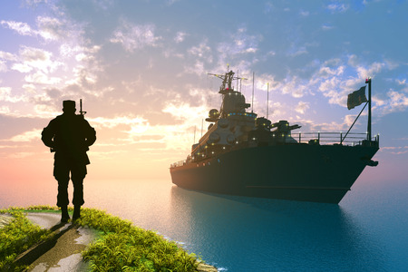 navy ship: The military ship in the sea