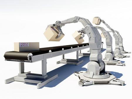Robots work on assembly line.