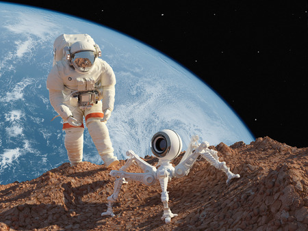 chipset: Astronaut and robot on the planet