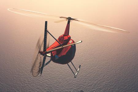 civilian: Civilian helicopter over the sea.