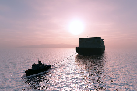 tug boat: Tugboat pulling a cargo tanker.
