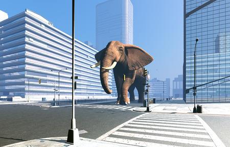 siluetas de elefantes: Elefante en las calles de la ciudad moderna