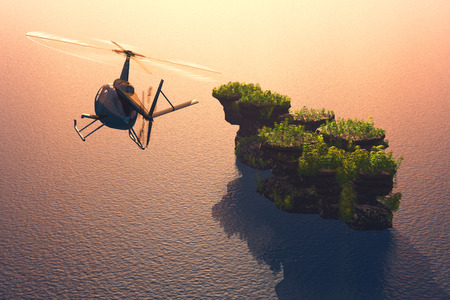 helicopter rescue: Civilian helicopter  over the island.