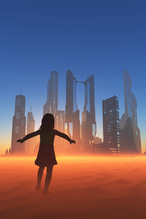 Girl runs through the desert against the background of the city. photo