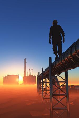 Silhouette of working on the pipe. Zdjęcie Seryjne - 34330519