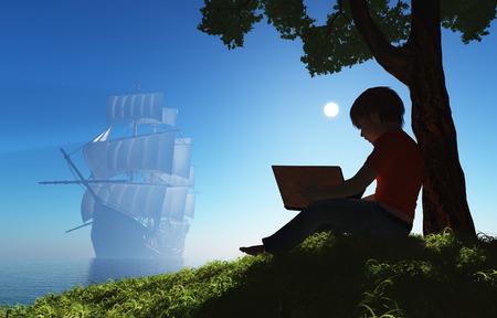 niños estudiando: Muchacho con un libro bajo un árbol.