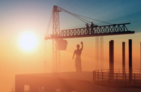 alba�il: Gr�a de construcci�n y los rascacielos.
