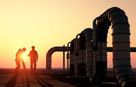 bomba de gasolina: Silueta de trabajar en la tubería.