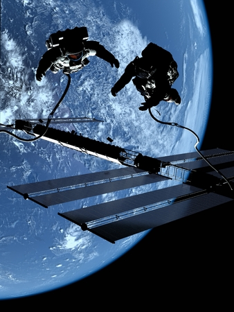 fantasy world: Two astronauts in space on the backdrop of the planet. Stock Photo