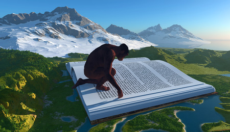 Primitive man and the book on the landscape.