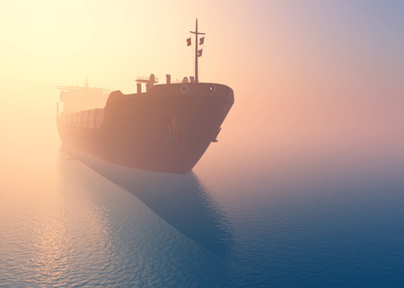 marine industry: Cargo tanker at dawn in the mist.