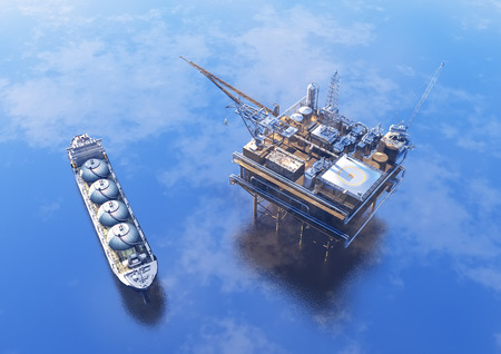 De olieproductie in de zee van bovenaf. Stockfoto