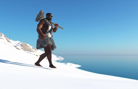 neanderthal man: Primitive man in the snow.