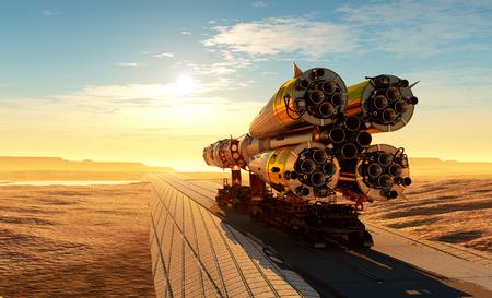 Baikonur met het ruimteschip tegen de hemel