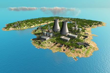 turbina de vapor: La isla con las tuberías de la planta.