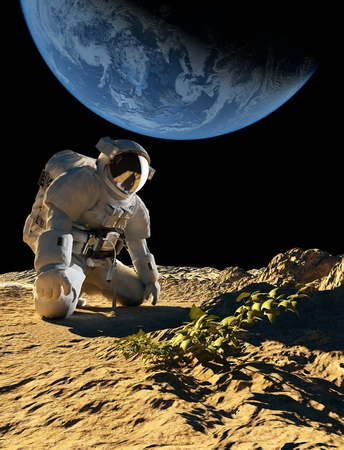 Astronaut on his knees in front of a bush.